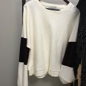Urban Outfitters Sweaters - Urban Outfitters. White sweater velvet sleeves.